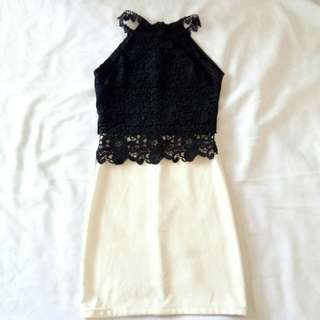 B&W Lace Bodycon Dress