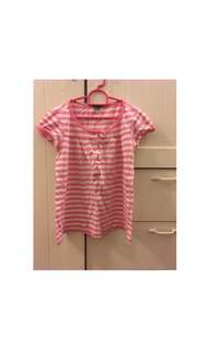 Girls Pink and White Striped T-Shirt