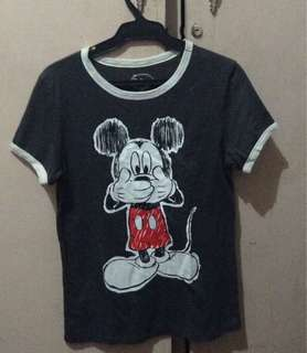 Disney Mickey Mouse grey and white shirt
