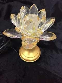 開光 長壽多福 長明燈 蓮花燈 玻璃 glass lotus light