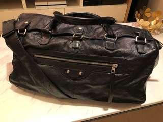 Balenciaga classic black creased leather squash holdall bag