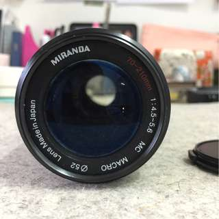 Manual lens Miranda 70-210mm 1:4.5-5.6 Macro PK-mount with Micro 4/3 lens adapter.