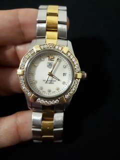 00  Home > Tag Heuer  11111  TAG HEUER Aquaracer 45 Diamond Gold & Steel Ladies Watch