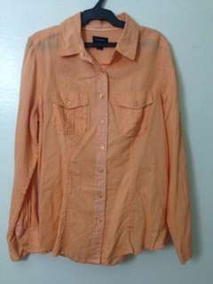 Orange long sleeves blouse