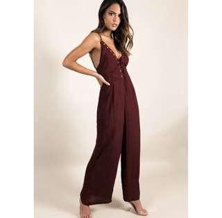 Tie up maroon jumpsuit size 8/ S