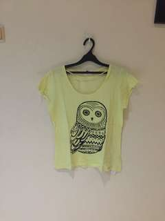 Owl yellow tee