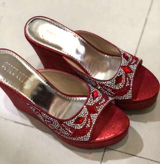 Peter Keiza Red Party Wedges