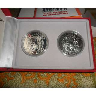 1991 Singapore Civil Defence 2-in1 $5 Coin Set
