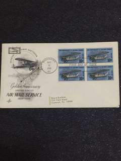 US 1968 10c 50th Anniv Air Mail Service Blk4 FDC stamps