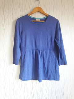 Knit Plain Blue Blouse