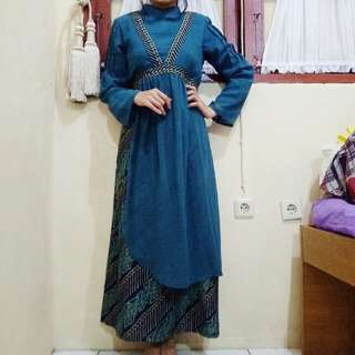 long dress free kerudung motif