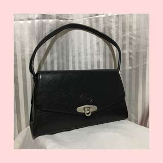 authentic black leather lacoste bag