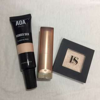 [SALE] Makeup bundle (lipstick, eyeshadow/highlighter & primer)