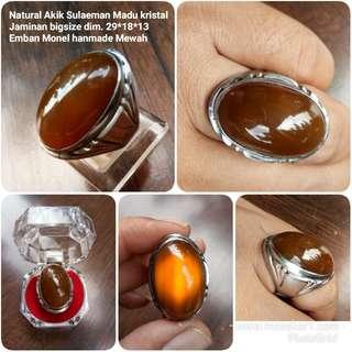 Natural cincin Bacan coklat kristal bigsize + emban monwl hanmade ring size 10