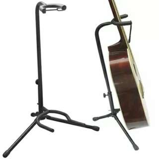 Black On-Stage Tripod Gear Tubular Acoustic Electric Classic Guitar Single Stand