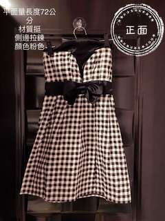 🚚 粉色 黑格樣式 平口小禮服