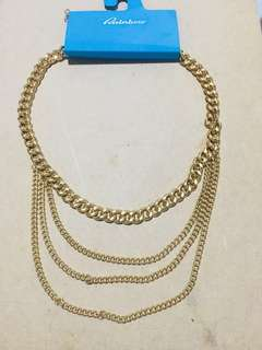 (brandnew) fancy four layer gold necklace