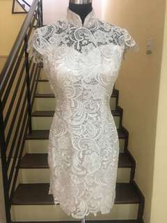Lace (3D) Cheongsam in Cream color