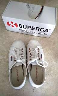 Authentic Superga 2750 White Shoes - Rose Gold