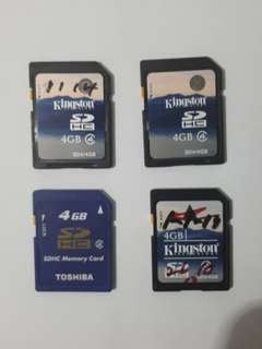 Reformatted 4GB SDHC Memory Cards