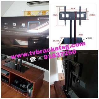 """TV Stand For Display Up To 65"""" (Tempered Glass Based/TV Bracket provided)"""