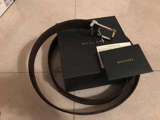 100% authentic Bvlgari brown 長方扣雙面 belt 120cm