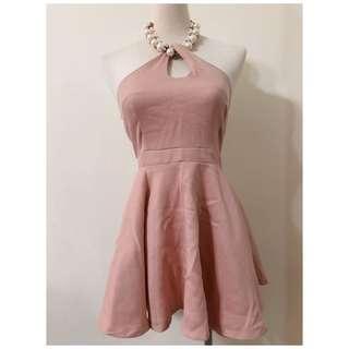 ❀☪︎ 韓  美款 鑽珠繞頸洋裝