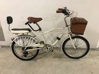 "20"" bicycle with child seat and front basket"
