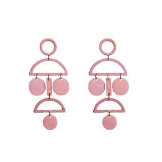 日系可愛百搭粉色幾何個性耳環