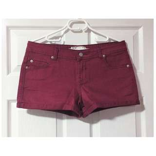 Cotton On Maroon Denim Shorts - Size 12