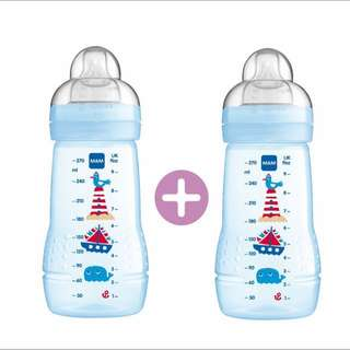 MAM Easy Active Baby Feeding Bottle 270ml - Double/Twin Pack