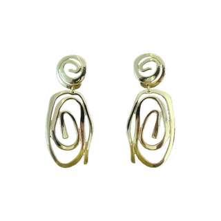 歐美潮流橢圓吐司金屬耳環