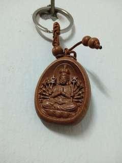 Wooden guan yin charming keychain