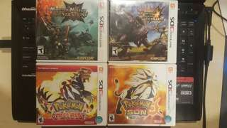 3DS Games - Pokemon and Monster Hunter