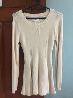 Preloved Basic Peplum Wool Long Top