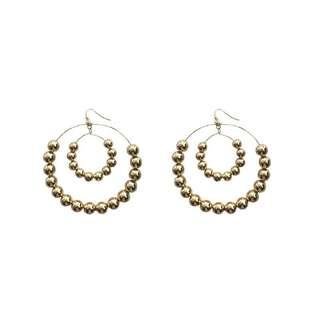 歐美雙層金屬珠子耳環 (金銀兩色)