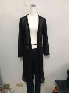 🚚 黑網長版罩衫