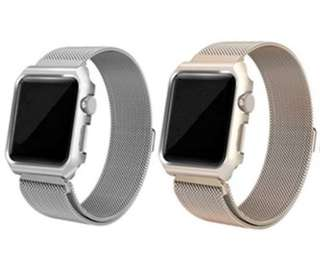 2 IN 1: APPLE: iWatch Milanese Strap With Protective Case #Silver #Gold