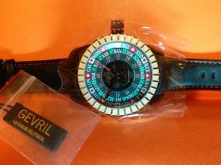 GV2 by Gevril , Lucky 7, 瑞士制機械自動(不需電池)大錶面48mm, 錶底輪盤設計,全新有紙有盒有吊牌。戴它到澳門或拉斯維加斯也許會增加運氣。
