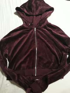 Brand New H&M Maroon Velour Cropped Jacket