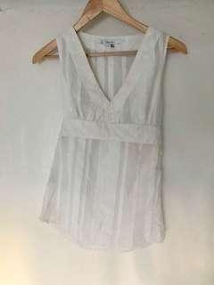 White Zara Sleeveless Sheer Top