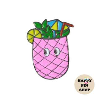 Pink Pineapple Cocktail Enamel Pin (Summer Vacay)