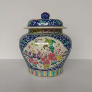 Special Artistic Porcelain hand-painted ornamental jar with design of chinese figure in arabesque panel