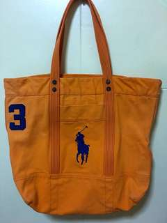 Authentic Ralph Lauren orange canvas pony tote (large)
