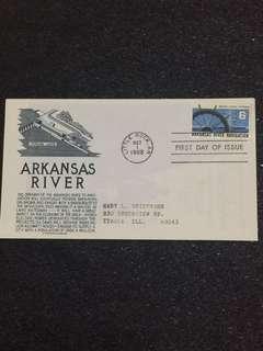 US 1968 Arkansas River Navigation FDC stamp