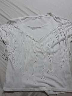 Pull & Bear White Shirt with Fringe