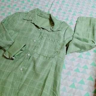 🚚 綠色白格子線襯衫 可換物