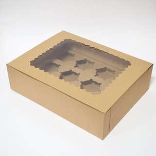 Kraft Brown Cupcake Box of 12