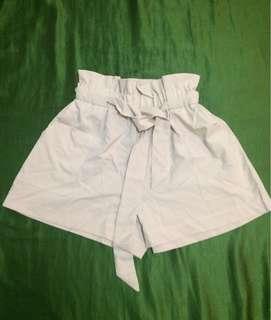 Cream Beige Tie Shorts