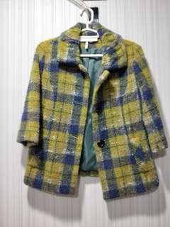 藍綠格子毛呢外套